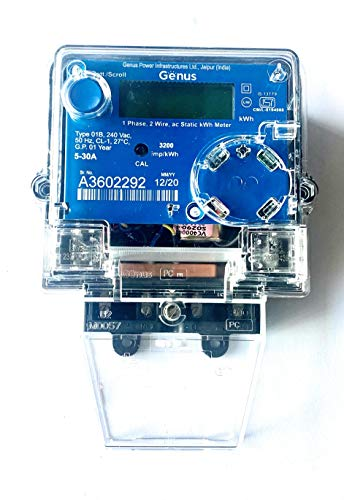 Genus 1-Phase Electric Energy LCD Sub Meter (2 Wire, 240V, 50Hz, 3200 imp/kWh Class-1.0, ISI Mark) - 5-30