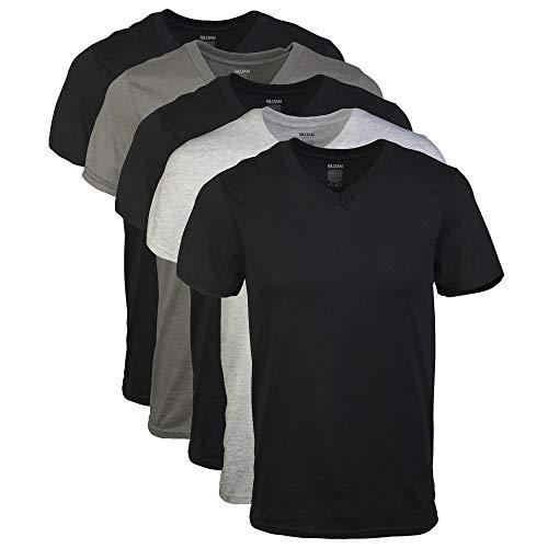 Gildan Men's V-Neck T-Shirts, Multipack, Assorted (5-Pack),...