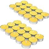 com-four 30x Tealights - Bougie Anti-moustiques parfumée au Citron - Bougie parfumée pour repousser Les moustiques et Les Insectes (30 pièces - Bougie Chauffe-Plat)