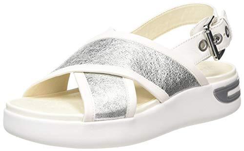 Geox D OTTAYA Sandal A, Sandalias de Talón Abierto Mujer, Plateado (Silver/White C0434), 37 EU