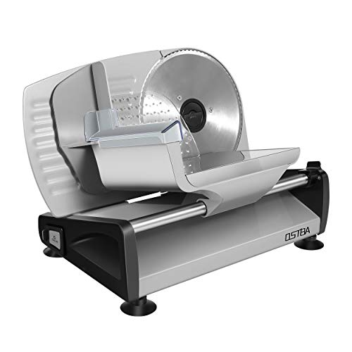 Meat Slicer Electric Deli Food Slicer with Child Lock Protection, Removable 7.5 Stainless Steel Blade and Food Carriage, Adjustable Thickness Food Slicer Machine for Meat, Cheese, Bread(200W)