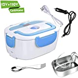Electric Lunch Box for Car and Home 110V & 12V 40W - Removable Stainless Steel Portable Food Grade Material Warmer Heater - with 2 in 1 Fork & Spoon
