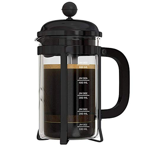 InstaCuppa French Press Coffee Maker 600 ML with Neoprene Sleeve for Extra Protection, Black