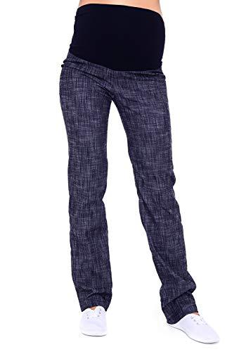 Mija - Klassische Komfortable Schwangerschaftshose Denim Umstandsjeans mit Bauchband 3014 (44, Denim Blau)