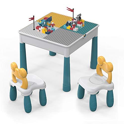 Set di sedie da Tavolo per Bambini,Giocattolo da Costruzione in Mattoni Grandi da 90 Pezzi,Tavolo da Gioco Multi attivit Tavolo da apprendimento Include 2 sedie e Tavolo da Costruzione