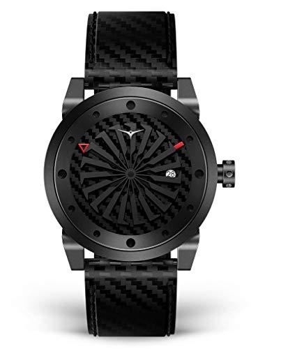 Zinvo Blade Venom Turbina Automatico Miyota Acciaio Inox PVD Nero Carbonio Opaco Datario Pelle...
