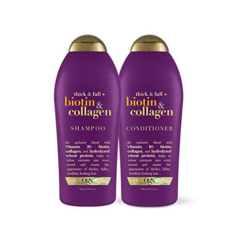 OGX Thick & Full + Biotin & Collagen Shampoo & Conditioner, 25.4 Ounce (Set of 2)