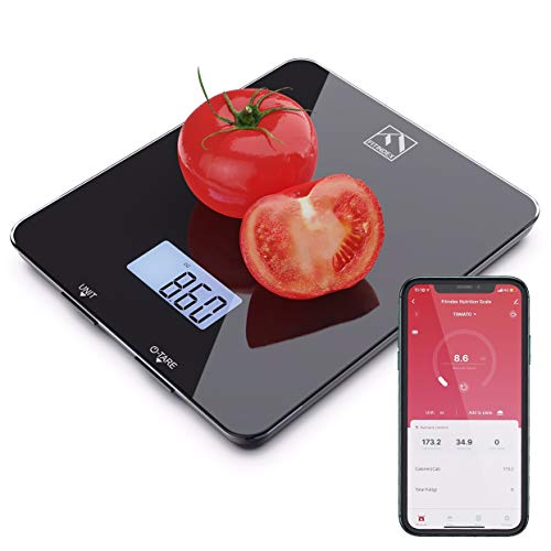 Smart Food Nutrition Scale, FITINDEX Bluetooth Digital Kitchen Scale with Nutritional Calculator and Timer, Multifunction Coffee Scale with Smartphone APP for Keto, Macro, Calorie and Weight Loss