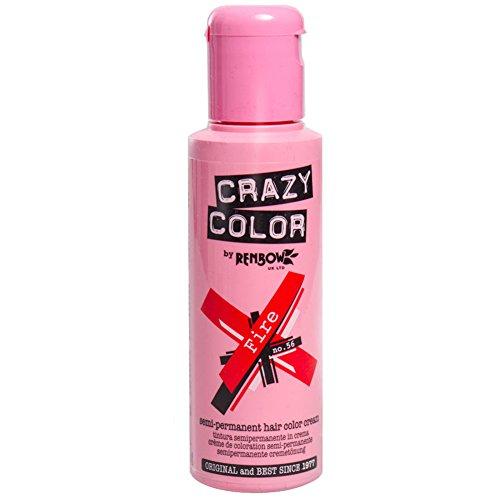 Crazy Color Fire Nº 56 Crema Colorante del Cabello Semi-permanente, Rojo, 100ml (002246)