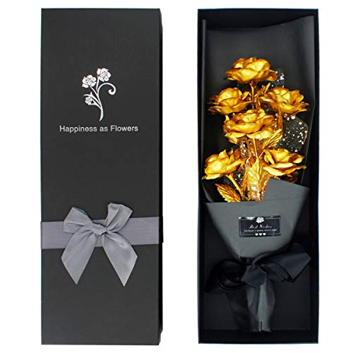 24k Gold Roses, Gold Plated Rose 24k Gold Dipped Rose with Luxury Gift Box for Her, Artificial Forever Rose Bouquet Unique Gift for Valentine's Day Anniversary Wedding Mother's Day Birthday (Gold)