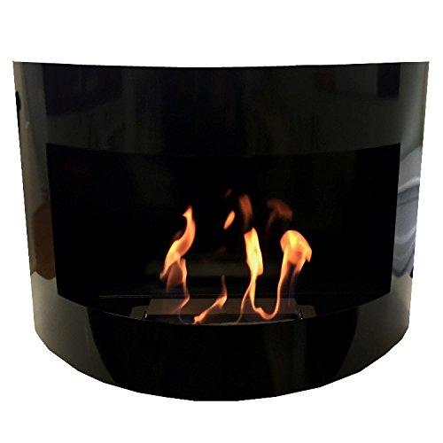 Ethanol Fireplace Stove, Wall Model Monaco High Shine Curved + Free 24Decorative Stones