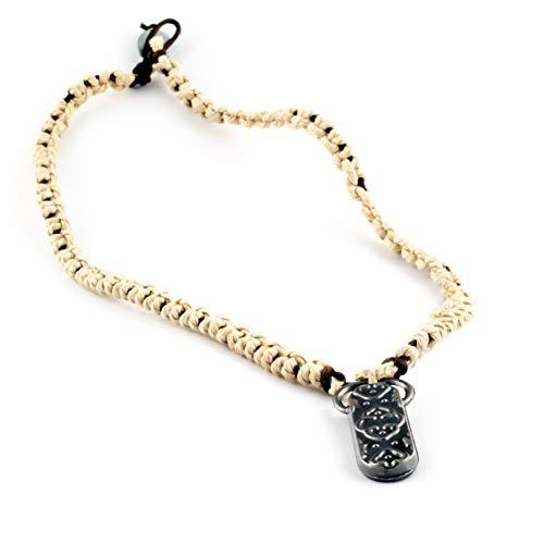 Design in cuoio, collana della collezione 'lupo solitario', chiusura con nodo, con ciondolo, diverse varianti disponibili, incl.con sacchetto regalo. e base metal, colore: crema, cod. 2017-01-005
