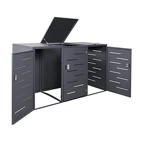 Mendler 3er-Mülltonnenverkleidung HWC-E83, Mülltonnenbox Mülltonnenabdeckung, erweiterbar 108x61x76cm ~ Stahl anthrazit