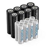 POWEROWL 16pcs Piles Rechargeables Kit pour AA et AAA Batterie...