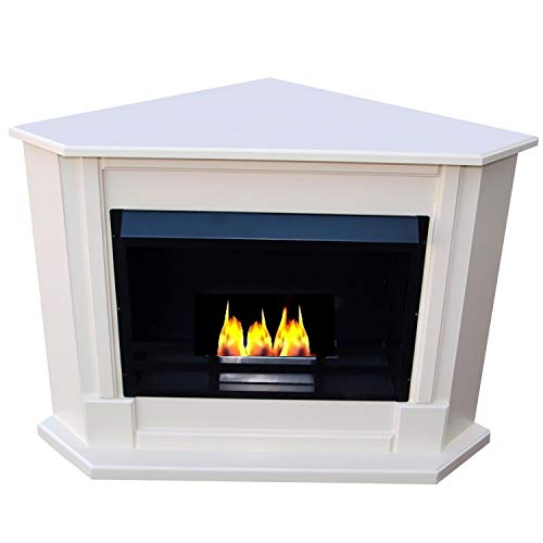 Ethanol Fireplace and Gel Fireplace - Corner Fireplace - Moscow Model - Colour (High Gloss White) - Complete Fireplace Accessories Included