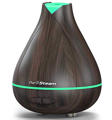 PurSteam Essential Oil Diffuser, Wood Grain Aromatherapy Diffuser Ultrasonic Cool Mist Humidifier with Color LED Light Changing and Waterless Auto Shut-Off for Bedroom Office Home Baby Room Yoga