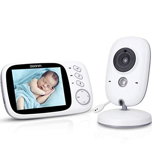 Baby Monitor Videocamera con Visione Notturna,Schermo LCD da 3,2',AWANFI Telecamera di Sorveglianza per Bambini,Funzione di VOX Attivazione Vocale Walkie Talkie Sensore di Temperatura e 8 Ninnananne