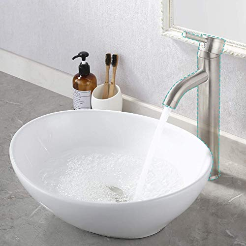 KES 16' x 13' Oval White Ceramic Vessel Sink - Modern Egg Shape Above Counter Bathroom Vanity Bowl, BVS124