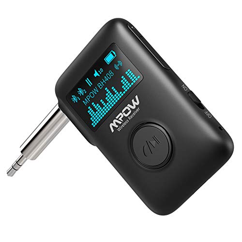 Product Image 1: Mpow Bluetooth Receiver, Bluetooth 5.0 Receiver with Display Screen, Bluetooth Aux Adapter with Noise Cancellation, 3D Surround Sound for Car Stereo