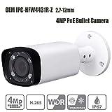 4MP Outdoor Bullet PoE IP Camera, IPC-HFW4431R-Z 2.7-12mm Motorized Varifocal Lens 4X Optical Zoom Network Security Camera, 80m IR Night Vision, IP67, Onvif, WDR,H.265,IP67