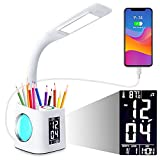 Study LED Desk Lamp with USB Charging Port, Kids Dimmable LED Table Lamp with Clock and Pen Holder, Home Office, College Student Dormitory, Reading Eye Protection Desk Lamp, Color Night Light,10W