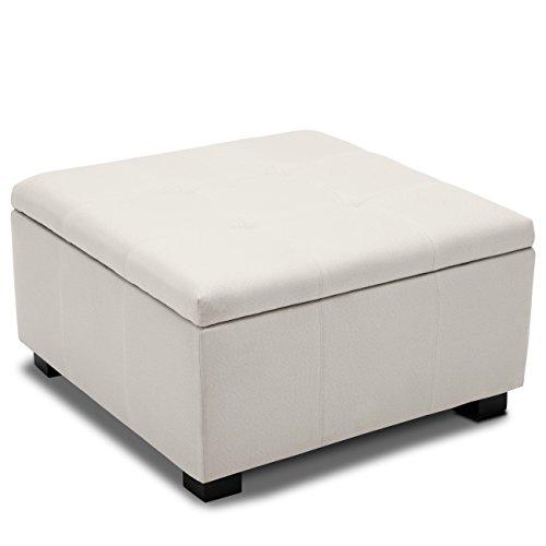 BELLEZE Squared Vintage Style Upholstered Tufted Storage Ottoman Foot Bench Indoor Bedroom Living Room, Cream
