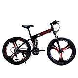 Mountain Bike 24 inch Folding Bikes with High Carbon Steel Frame, Featuring 36 Spoke Wheels and 21 Speed Shimano Shifter, Double Disc Brake and Dual Suspension Anti-Slip MTB Bicycles (Black)