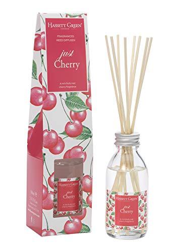 Just Cherry Duftöl-Diffusor mit Rattanstäbchen, 100 ml, langlebiger Raumduft – mit 8 Rattan-Blättern