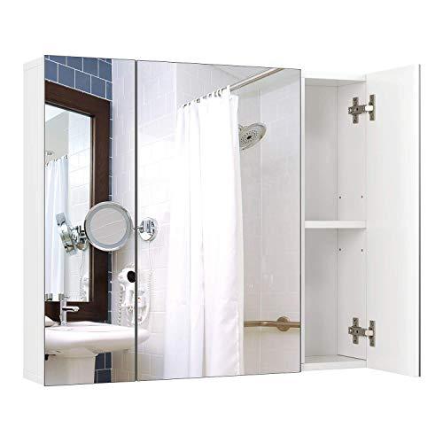 Homfa Armadio a Specchio a Tre Ante Armadietto a Specchio da Bagno con Ripiani Interiori 70 15...