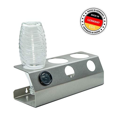 EDS - Premium Abtropfhalter in Edelstahl für bis zu 3 SodaStream Flaschen   Spülmaschinenfest   Wandmontagegeeignet inkl. Befestigungsmaterial   Flaschenhalter Soda Stream   Made IN Germany