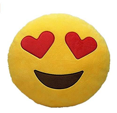 Deanyi cojín Almohada emoticône Emoji Redondo de Peluche Suave (Ojos del corazón)