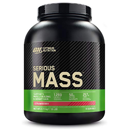 Optimum Nutrition Serious Mass Protein Powder High Calorie Mass Gainer with Vitamins, Creatine Monohydrate and Glutamine, Strawberry, 8 Servings, 2.73 kg, Packaging May Vary