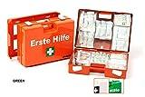 LEINA-WERKE 21013 Quick - Maletín de primeros auxilios con impresión (2 colores, con contenido: DIN 13157, 10 unidades), color verde