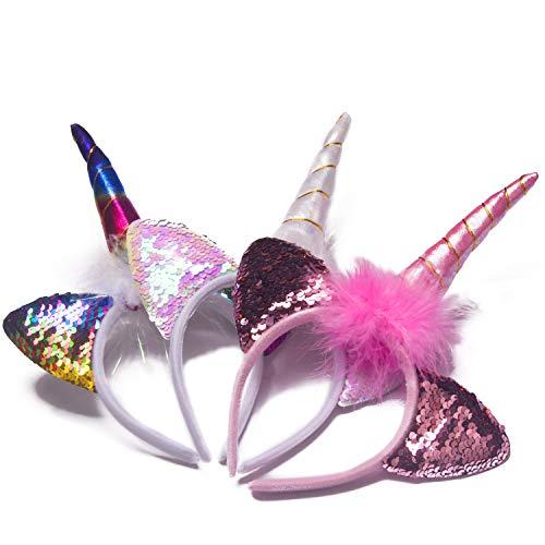 KINGYEE Diademas de unicornio iluminadas para niñas, juego de 3 diademas para disfraz de Halloween, con luces y suministros para fiestas