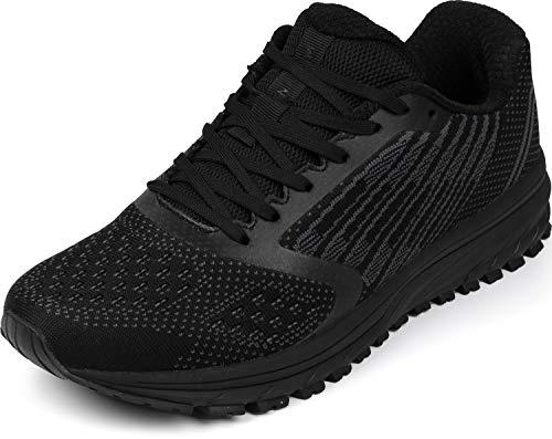 WHITIN Herren Sneakers Damen Turnschuhe Laufschuhe Männer Walkingschuhe rutschfest Joggingschuhe Sportschuhe Schnür Fitness Schuhe Schwarz Größe 40