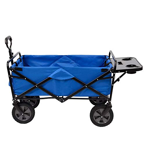 MacSports Collapsible Folding Outdoor Garden Utility Wagon Cart w/Table, Blue