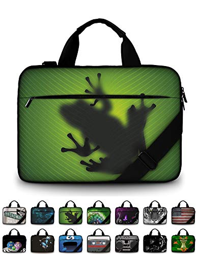 Funky Planet 15' 15.6' inch Shoulder Laptop Messenger Solid Strong Canvas Sleeve Case Bag Briefcases Compatible with Apple MacBook air pro Dell Lenovo Samsung Asus Computer Tablet or Ipad