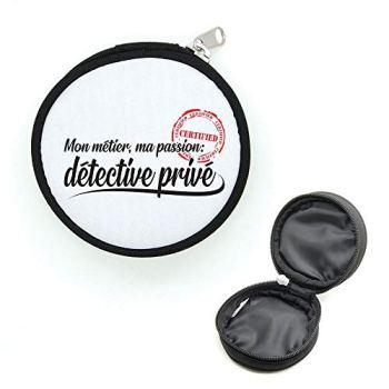 Mygoodprice Porte-monnaie rond avec zip métier passion détective privé