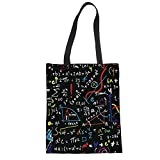 Upetstory Canvas Tote Bag Reusable Shopping Bag Popular Math Formula Printed Black Shoulder grocery Handbag for Women Men