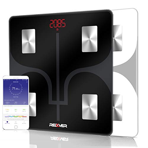REDOVER-Bluetooth Body Fat Scale with Free iOS & Android App, Smart Wireless Digital Bathroom Scale, Body Composition Analyzer for Body Weight, Body Fat, Muscle Mass, BMI, BMR and More, 400lb (Black)