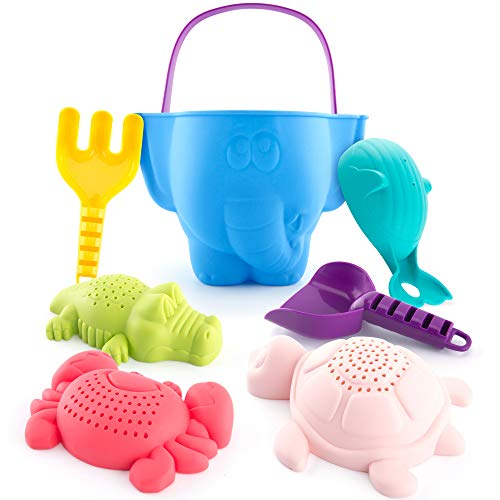 Beach Toys Sand Toys Bath Toys for Kids Toddlers Baby, Sand Toys Bucket Rake Shovel Set, Beach Turtle Crocodile Whale Crab Sand Molds Water Toys for 1 Year Old Boy 18 Months Old and up, 7 Pieces