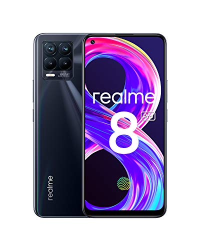 "realme 8 Pro Smartphone Libre, Cámara cuádruple Ultra de 108 MP, Pantalla completa AMOLED superior de 6,4"", Carga SuperDart de 50W, Batería de 4500 mAh, Dual Sim, NFC, 6+128GB, Punk Black"