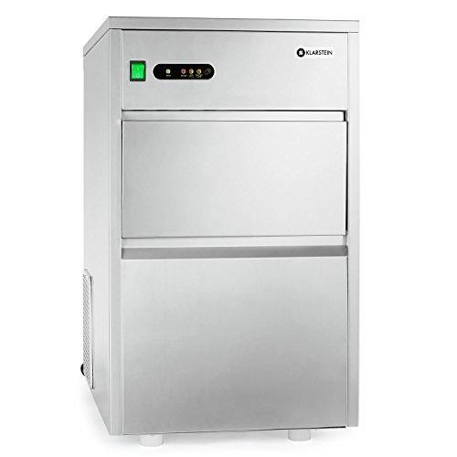 Klarstein macchina per cubetti ghiaccio industria - Ice Maker, 20 kg/24 h, 240 watt, Paletta, Tubo, LED, rivestimento interno neutrale, molto silenzioso, Classe climatica ST, argento