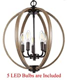 Cloudy Bay Orb Chandelier,Hanging Pendant Light Fixture,5 E12 LED Light Bulbs Included,Oil Rubbed Bronze Finish Wood Texture for Dinning Room