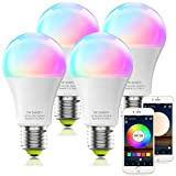 MagicLight Smart Light Bulbs, WiFi & Bluetooth 5.0, A19 60W Equivalent Dimmable Full Color Changing Light Bulbs, Music Sync, App Control, Smart Home Lighting Work with Alexa Google Assistant, 4Pack