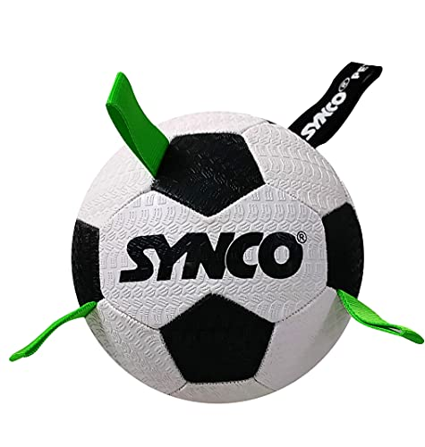 Synco Football Black and White with Holding Green Loops Dog Ball Size 3