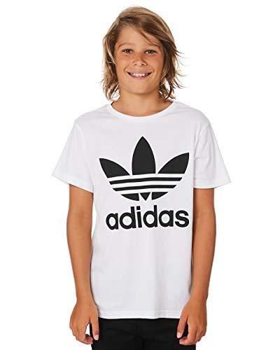 adidas Trefoil Tee, T-Shirts Unisex Bambini, White/Black, 12-13A