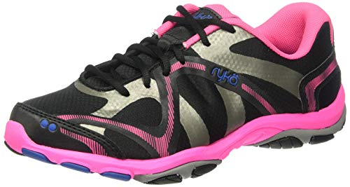 Ryka Women's Influence Cross Training Shoe, Black/Atomic Pink/Royal Blue/Forge Grey, 8 M US
