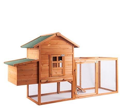 GOJOOASIS 80' Outdoor Wooden Chicken Coop Hen...