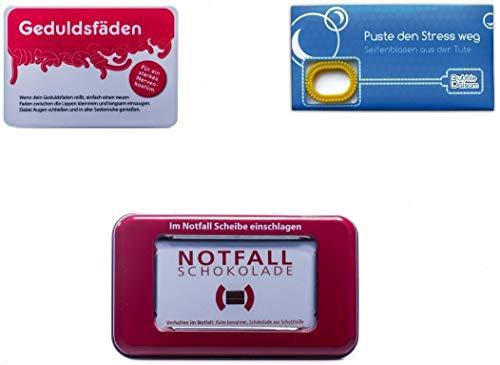 yagma Anti Stress Notfallpaket (Notfallschokolade, Seifenblasen Puste den Stress weg, Geduldsfäden)